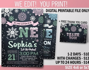 Winter ONEderland Invitation. Baby Girl First Birthday. Printable Invitation. Mint and Pink Snowflakes