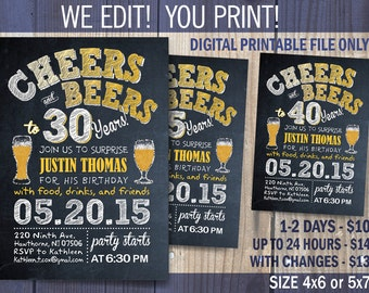 Cheers and Beers Birthday Party Printable invitation / Beers and Cheers 30th - 40th - 50th - 60th / DIY /