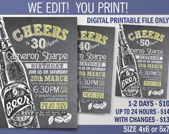 Cheers to 30 years. Beer Birthday Party Invitation. 30th - 40th - 50th - 60th. DIY. Chalkboard Theme Invitation