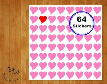 Heart Stickers, 64, Heart Planner Stickers, Heart Sticker Set, Heart Envelope Seals, Heart Envelope Stickers, Hearts, Valentine Stickers