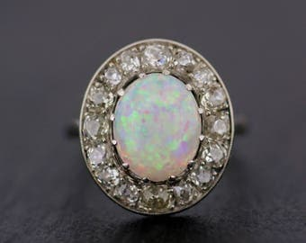 Antique Opal Ring - Edwardian Opal Engagement Ring - Antique Edwardian Opal & Diamond Cluster Ring
