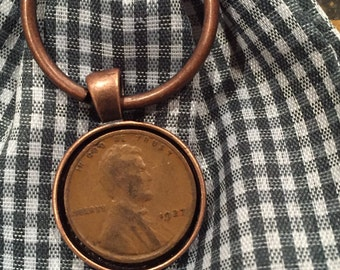 1927 Penny Keychain - Antique Copper
