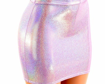 Lilac Holographic Bodycon Skirt made from Lycra Spandex Festival Party Rave Clubwear - 153987