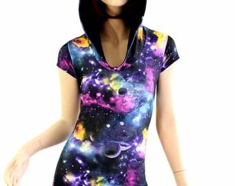 UV Glow Galaxy Space Print Cap Sleeve Hoodie Romper w/Black Zen Hood Liner Rave Festival Onsie 154475