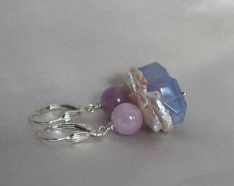 Chalcedony earrings, Pink Kunzite earrings, Chalcedony jewelry gift, keshi pearl drop earrings, pearl gift, silver lever back ear wires