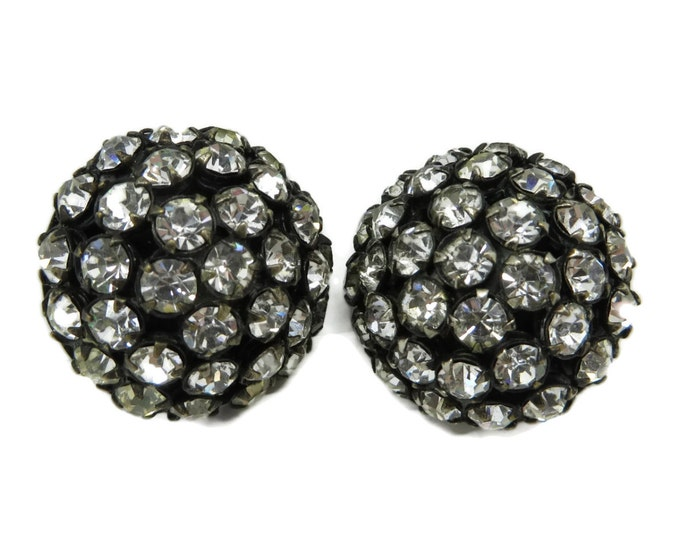 Vintage Sandor Rhinestone Earrings Domed Button Clips Designer Signed Runway Bridal Jewelry Gift Idea