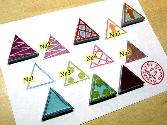 Triangle stamp geometric hand carved rubber stamps