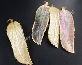 1 Pcs Pretty Gold Plated Edge Large Thin Feather Rainbow Shell Charm Pendant Natural Beach Shell Gemstone Bead Making Jewelry Finding G1095