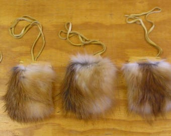 5 Red Fox Fur & Gold Color Deer Leather Bags