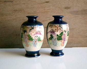 A pair of 2 Small Antique Oriental Japanese Hand painted Meiji Satsuma Cobalt Blue Vases Collectible Japanese Pottery