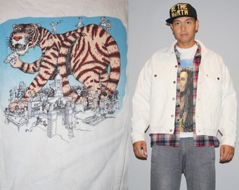 Vintage 1990s White Jean Jacket with Graphic Cartoon Character Giant Tiger Denim Jacket - Vintage denim Jacket - Vintage  Jacket - M0174