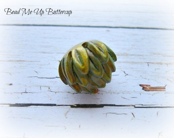 1 Golden Green Patina Flower Bud - Polymer Clay - Art Bead - Unique Beads