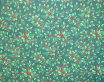VIP Cranston Christmas Red Berries and Holly on Green Cotton fabric BTY