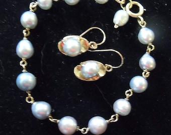 14K Vintage South Sea Baroque 8MM Pearl Bracelet & Earrings - Handmade