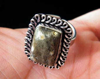 Natural Ocean Jasper Ring, Silver Plated Handmade Ring, Silver Brass Ring, Gemstone Ring Jewelry, Ring size-8.25 - Adjustable Ring SH-3593