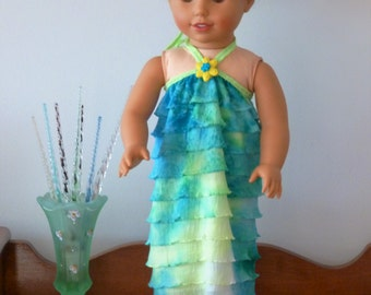"""Sale!/American Doll Size Halter Dress/AG Doll Clothes/18 inch Girl Doll Summer Dress/Trendy Doll outfit/Green Ruffle Dress/18"""" Doll Clothes"""