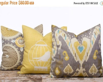 SALE ENDS SOON Taupe Throw Pillow Cases,Yellow Pillow Covers, Bird Pillow, Ikat Pillows, Geometric Pillows, Modern, Set of 3, 18x18