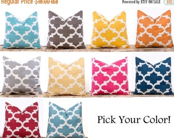 SALE ENDS SOON Throw Pillow Covers, Trellis Pillows, Cushions, Yellow Pillows, Blue, Red, Hot Pink, One 18 x 18""