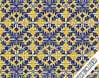 Tile Art, tiles digital paper, hand painted tiles, digital scrapbook paper, tiles pattern, navy and yellow tile, mosaic tile, tile print