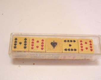 Vintage Crisloid Poker 5 Dice Set Instruction Sheet and Case