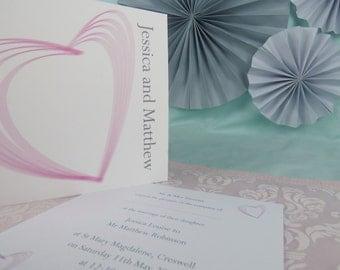 Heart Illustrated Personalised Wedding Invitation