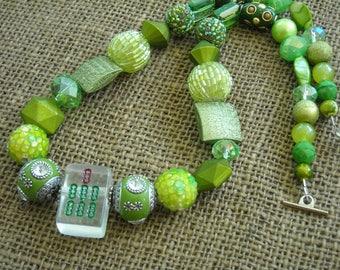 Green Mahjong Necklace - Mahjongg Gift - Jesse James Beads - Oriental Necklace - Clear Mahjong - Mahjong Jewelry