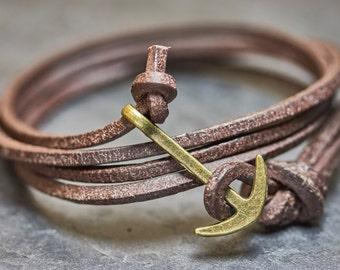 Anchor bracelet unisex Brown