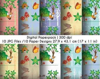 Forest Fox Digital Paper pack - Forest - Printable Scrapbook Paper