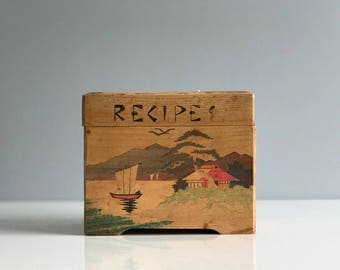 Wooden Hand Painted Recipe Box with Japanese Motif / Wooden Recipe Box / Wooden Box