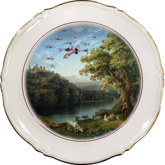 X-Wing Starfighter Squad Landscape - Chewbacca - Star Wars - Vintage Porcelain Plate - #0471