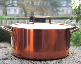 French Vintage Copper Pot/ Tournus Copper Pot With Lid/Vintage Copper Pan With Lid/French Stew Pot/French Soup Pot/French Copper Stockpot/