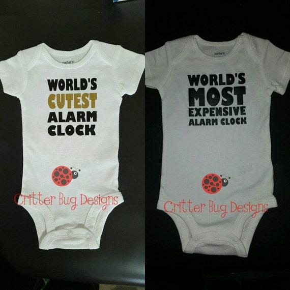 Items Similar To World 39 S Cutest Alarm Clock Baby Bodysuit