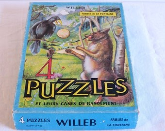 Box of 4 WILLEB La Fontaine fables jigsaw puzzles - illustrations by J Robion - French 60s vintage