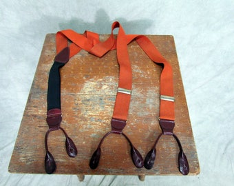 1940s Suspenders Rust Color with Leather Button Vintage Suspenders