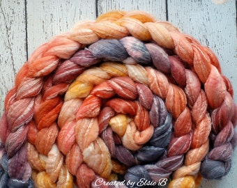 BFL/ Seacell 'Maple Leaves' 4 oz hand dyed roving Created by Elsie B Blue Faced Leicester spinning fiber, wool roving by the pound, orange