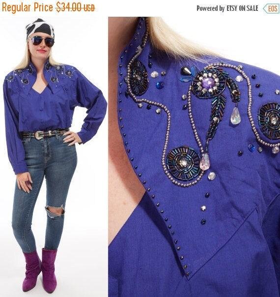 Vtg 80s Purple WRANGLER Western SHIRT Bling Cowgirl Sequin BEADED Bedazzled Trophy Kitschy Glam Retro Avant Garde Draped Dolman Sleeve large