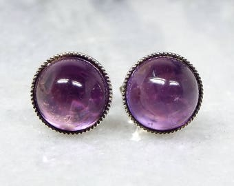 Vintage Art Deco Sterling Silver Genuine Purple Amethyst Cabochon Stud Earrings