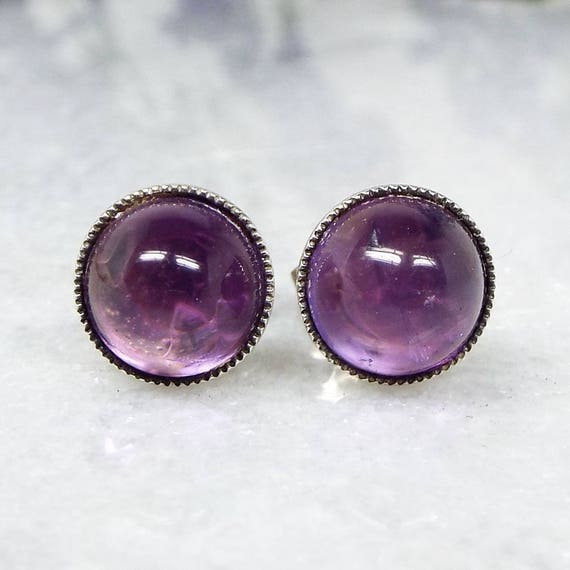 Vintage Art Deco Sterling Silver Genuine Purple Amethyst Cabochon Stud Earrings
