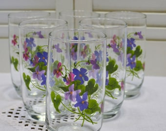 Vintage Violets Glass Tumbler Set of 6 Hand Painted Signed J Walsh Drinking Glass Glassware Panchosporch