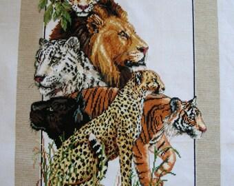 Cross Stitch Exotic Cats Lion Tiger Leopard Cheetah Jaguar Animal Theme Completed Handmade PanchosPorch
