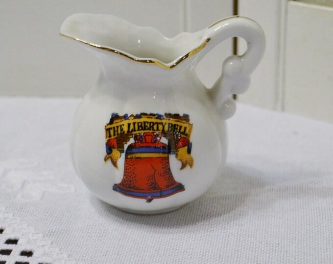 Vintage Liberty Bell Pitcher Souvenir Philadelphia Enesco Red White Blue Japan PanchosPorch
