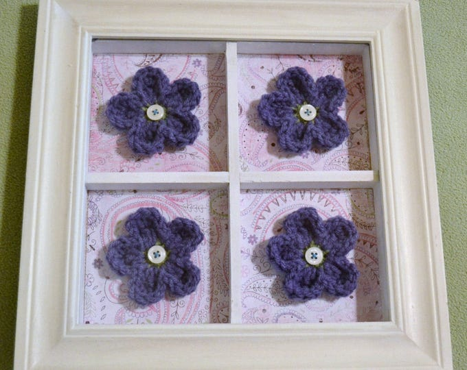 Shadow Box Frame with Crochet Flowers White Purple Pink Upcycle Recycle Handmade PanchosPorch