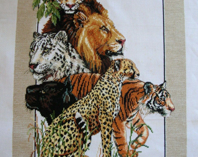 Cross Stitch Exotic Cats Lion Tiger Leopard Cheetah Jaguar Animal Theme Completed Handmade PanchosPorch