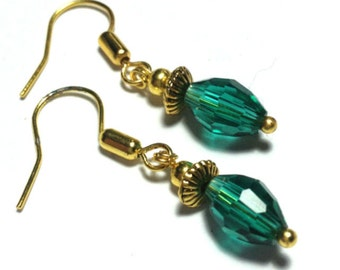 Tiny Turquoise Earrings, Glass Bead, Vintage Gold Tone - Hooks, Clip-On,  or Butterfly Studs (ET14-11)