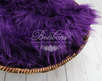 SALE - Purple, Cozy, Cuddly Faux Fur Nest - Perfect Newborn Photography Prop - Plush Long Pile, Stuffer, Filler, Layering, Bean Bag Cover