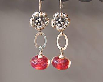 Fuchsia Pink Lampwork Earrings - Sterling Silver Flower Earrings