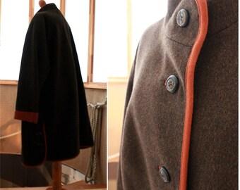 Vintage loden cape, cape coat, bavarian woman's winter coat, lady's coat