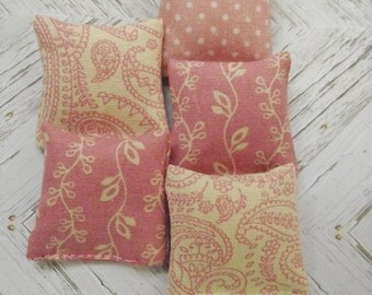 Miniature doll house 12th scale sofa or scatter cushion pack dusky pinks and cream set of five