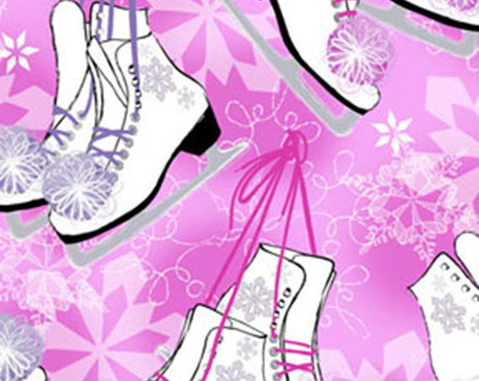 Half Yard Winter Novelties - Ice Skates in Pink with Metallic Accents - Cotton Quilt Fabric - Benartex Fabrics - 5649G-22 (W3493)