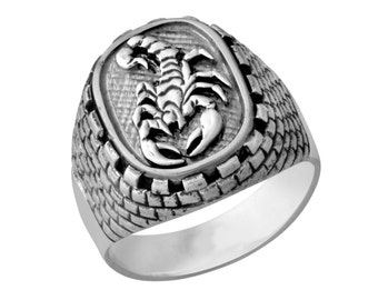 Sterling Silver Zodiac Signs Scorpion Animals Judaica Handmade Kotel Western Wall Ring